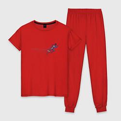 Пижама хлопковая женская Fast Run цвета красный — фото 1