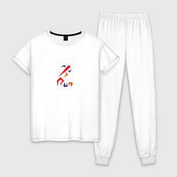 Пижама хлопковая женская Run rocket цвета белый — фото 1