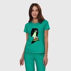 Пижама хлопковая женская Mulder цвета зеленый — фото 2