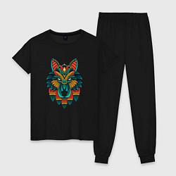 Пижама хлопковая женская Серьезный волк орнамент цвета черный — фото 1