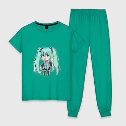 Пижама хлопковая женская Хацуне Мику цвета зеленый — фото 1