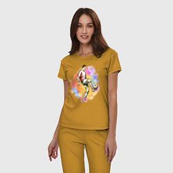 Пижама хлопковая женская Роналду 07 Сборная Португалии цвета горчичный — фото 2