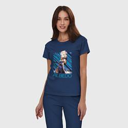 Пижама хлопковая женская Альбедо Genshin Impact цвета тёмно-синий — фото 2