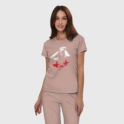 Пижама хлопковая женская Константин Кинчев - Алиса цвета пыльно-розовый — фото 2