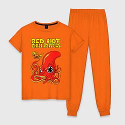 Пижама хлопковая женская RED HOT CHILI PEPPERS цвета оранжевый — фото 1