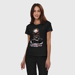 Пижама хлопковая женская Terminator T-800 цвета черный — фото 2