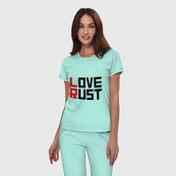 Пижама хлопковая женская Love Rust цвета мятный — фото 2