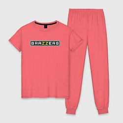 Пижама хлопковая женская Brazzers цвета коралловый — фото 1
