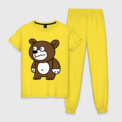 Пижама хлопковая женская Странный мишка цвета желтый — фото 1