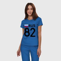 Пижама хлопковая женская RUS 82 цвета синий — фото 2