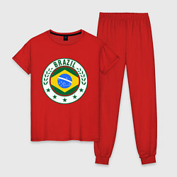 Пижама хлопковая женская Brazil 2014 цвета красный — фото 1