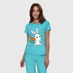 Пижама хлопковая женская Зайка с морковкой цвета бирюзовый — фото 2