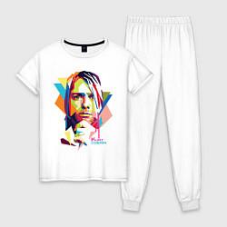Пижама хлопковая женская Kurt Cobain: Colors цвета белый — фото 1