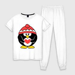 Пижама хлопковая женская Пингвин с сердцем цвета белый — фото 1