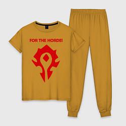 Пижама хлопковая женская Horde цвета горчичный — фото 1