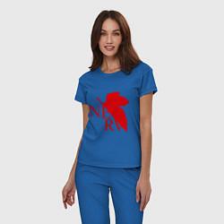 Пижама хлопковая женская Евангелион NERV цвета синий — фото 2