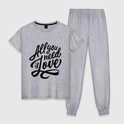 Пижама хлопковая женская All you need is love цвета меланж — фото 1