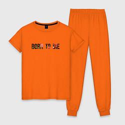 Пижама хлопковая женская Born to die цвета оранжевый — фото 1