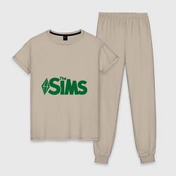 Пижама хлопковая женская Sims цвета миндальный — фото 1