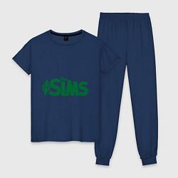 Пижама хлопковая женская Sims цвета тёмно-синий — фото 1