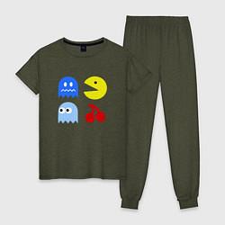 Пижама хлопковая женская Pac-Man Pack цвета меланж-хаки — фото 1