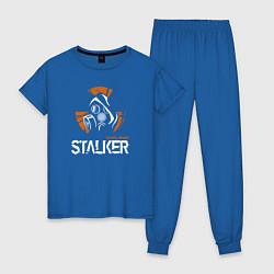 Пижама хлопковая женская STALKER: Online цвета синий — фото 1