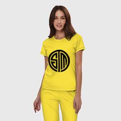 Пижама хлопковая женская SoloMid цвета желтый — фото 2