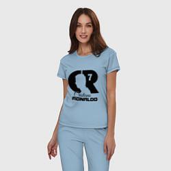 Пижама хлопковая женская CR Ronaldo 07 цвета мягкое небо — фото 2