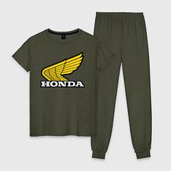 Пижама хлопковая женская Honda цвета меланж-хаки — фото 1