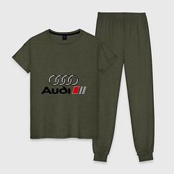 Пижама хлопковая женская Audi цвета меланж-хаки — фото 1