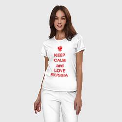 Пижама хлопковая женская Keep Calm & Love Russia цвета белый — фото 2