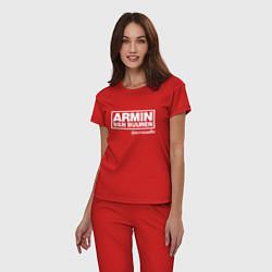 Пижама хлопковая женская Armin van Buuren цвета красный — фото 2
