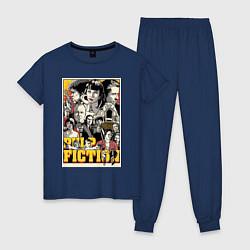 Пижама хлопковая женская Pulp Fiction Stories цвета тёмно-синий — фото 1