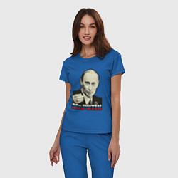 Пижама хлопковая женская Mr. Putin цвета синий — фото 2
