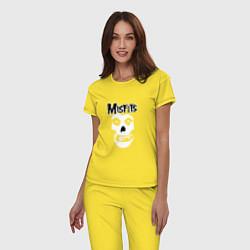 Пижама хлопковая женская Отбросы цвета желтый — фото 2