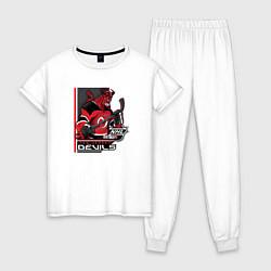 Пижама хлопковая женская New Jersey Devils цвета белый — фото 1