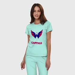 Пижама хлопковая женская Washington Capitals цвета мятный — фото 2