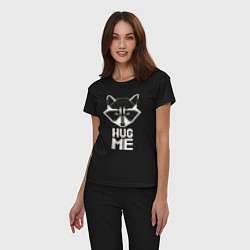 Пижама хлопковая женская Raccoon: Hug me цвета черный — фото 2