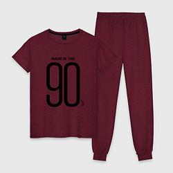 Пижама хлопковая женская Made in 90 цвета меланж-бордовый — фото 1