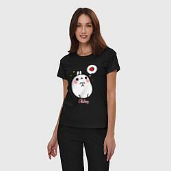 Пижама хлопковая женская Кролик Моланг с клубникой цвета черный — фото 2