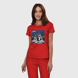 Пижама хлопковая женская Chemical Brothers: The night цвета красный — фото 2