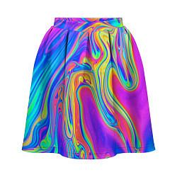 Юбка-солнце 3D женская Цветные разводы цвета 3D-принт — фото 1