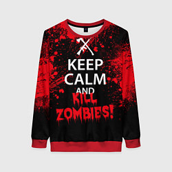 Свитшот женский Keep Calm & Kill Zombies цвета 3D-красный — фото 1