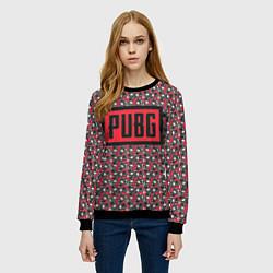 Свитшот женский PUBG: Red Pattern цвета 3D-черный — фото 2