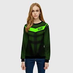 Свитшот женский N7: Green Armor цвета 3D-черный — фото 2