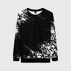 Свитшот женский БЕЛЫЕ ЧЕРЕПА цвета 3D-черный — фото 1