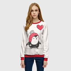 Свитшот женский Влюбленный пингвин цвета 3D-красный — фото 2