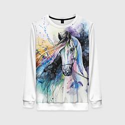 Свитшот женский Акварельная лошадь цвета 3D-белый — фото 1
