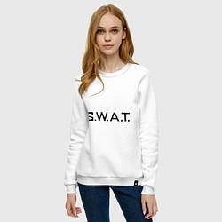 Свитшот хлопковый женский S.W.A.T цвета белый — фото 2