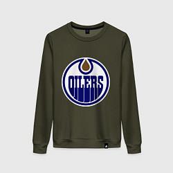Свитшот хлопковый женский Edmonton Oilers цвета хаки — фото 1